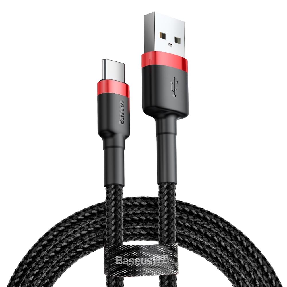 Baseus Cafule extra odolný nylonem opletený kábel USB / USB-C QC3.0 2A 2m black-red