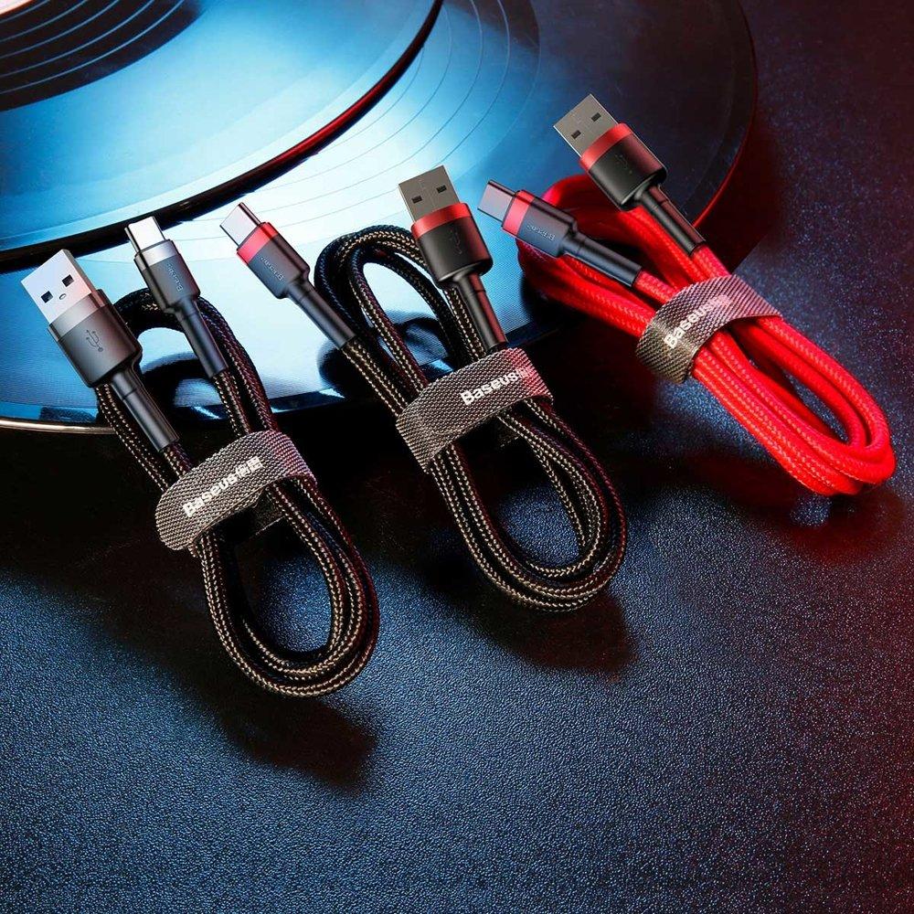 Baseus Cafule extra odolný nylonem opletený kabel USB / USB-C QC3.0 2A 2m black-red