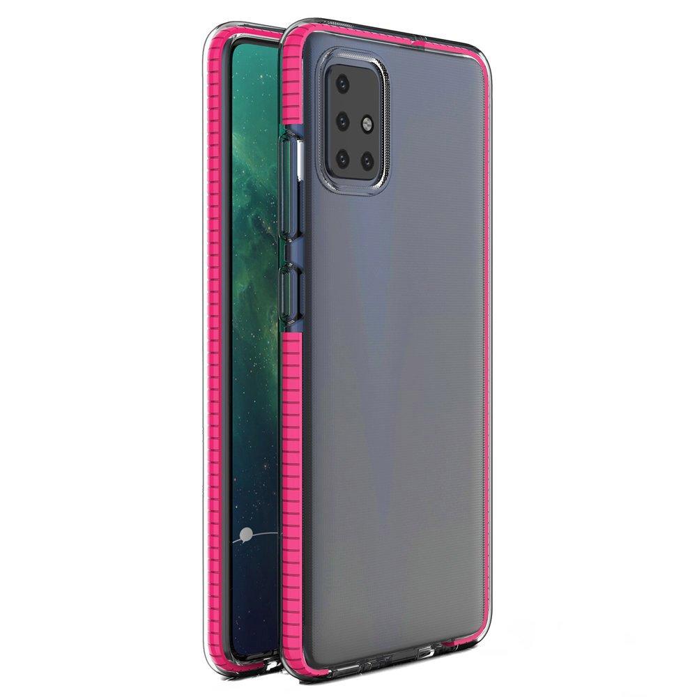 Spring silikonové pouzdro s barevným lemem na Samsung Galaxy A21s pink