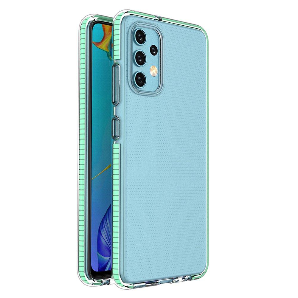 Spring silikonové pouzdro s barevným lemem na Samsung Galaxy A32 4G mint