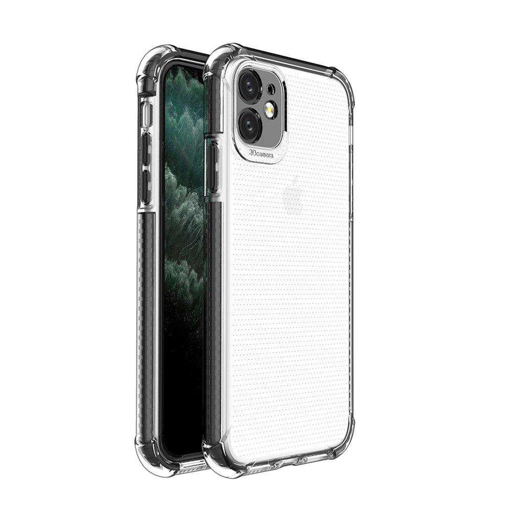 Spring Armor silikónové puzdro s farebným lemom pre iPhone 11 black