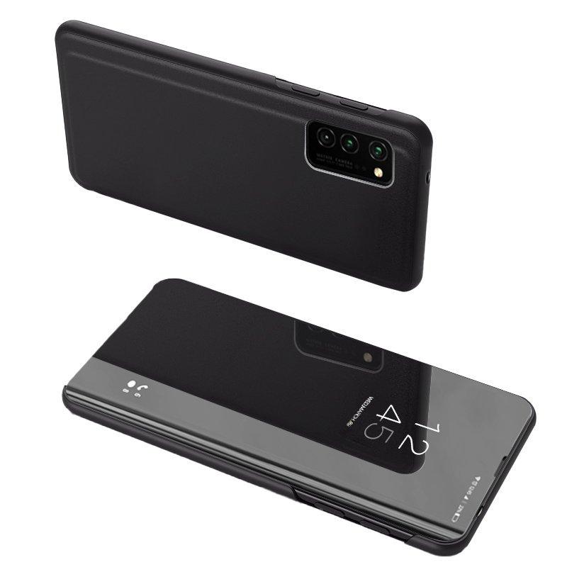 Knižkove púzdro pre Samsung Galaxy A52 black s priehľadnou prednou stranou