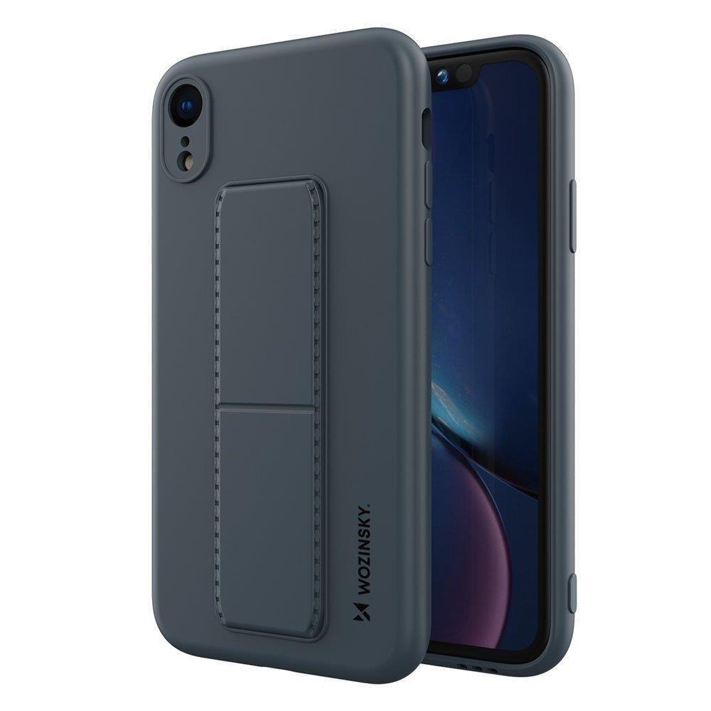 Wozinsky Flexibilné silikónové puzdro so stojanom na iPhone XR navy blue