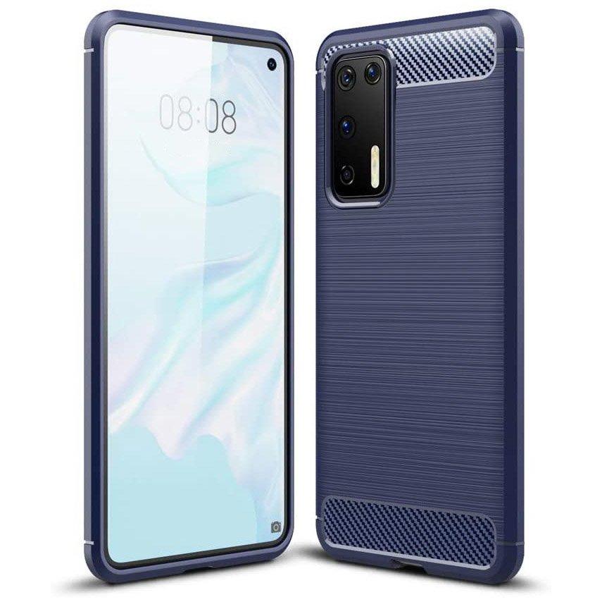 Carbon silikonové pouzdro na Huawei P40 Pro blue