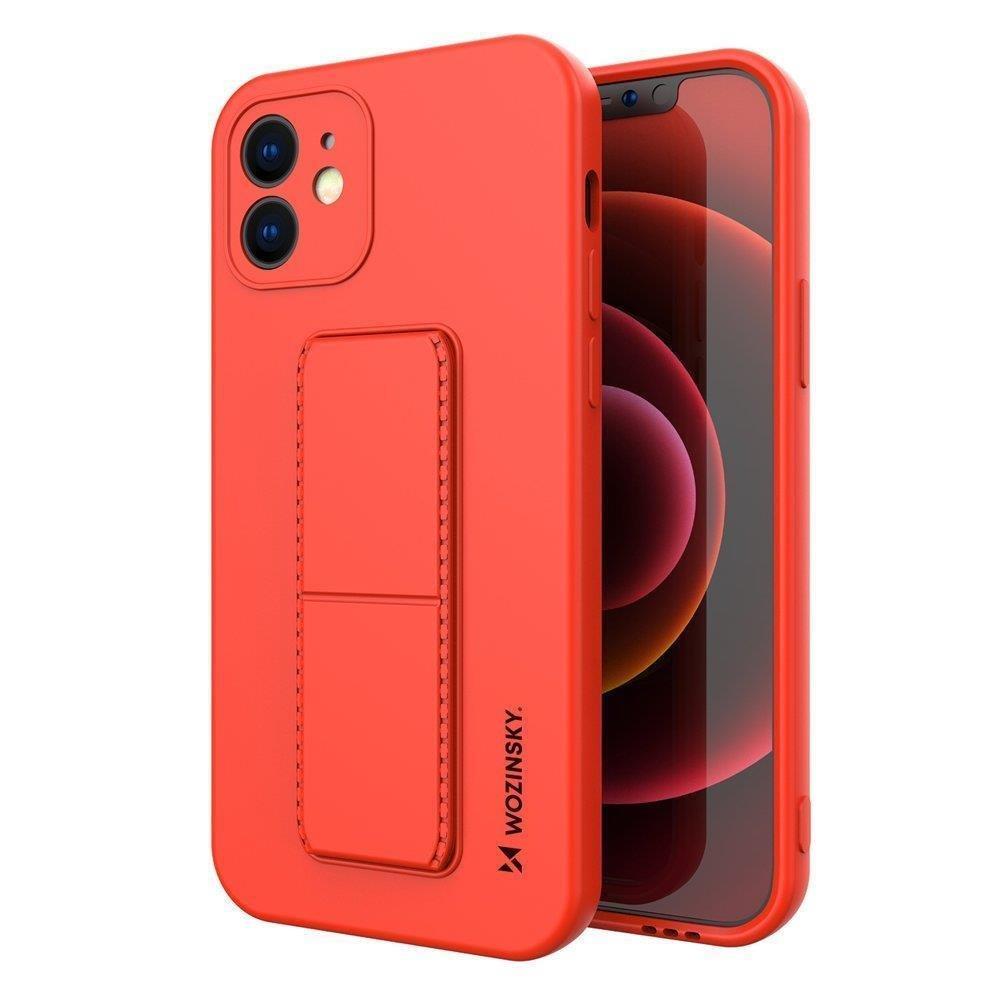 Wozinsky Flexibilné silikónové puzdro so stojanom na iPhone XS Max red