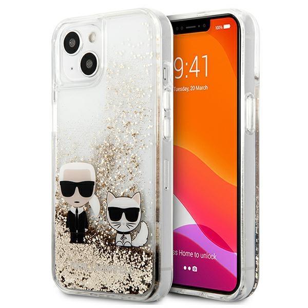 """Karl Lagerfeld KLHCP13MGKCD iPhone 13 6,1 """"zlatý / zlatý tvrdý obal na tekutý lesk Karl & Choupette"""