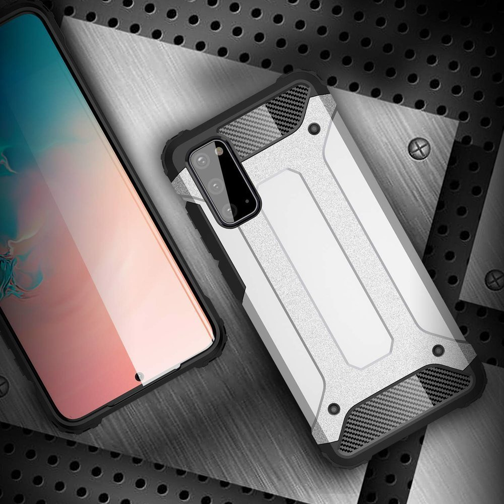 Hybrid pancéřové polykarbonátové pouzdro na Samsung Galaxy A41 silver
