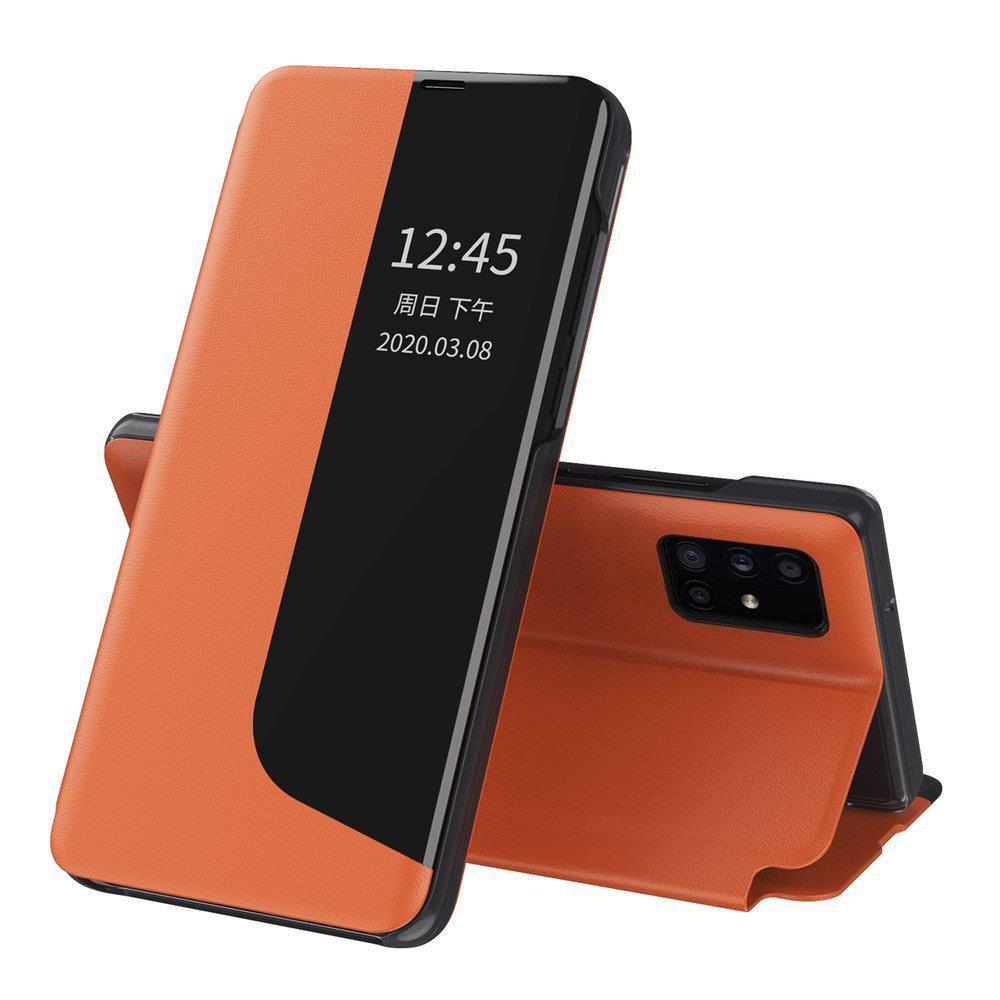 Knížkové puzdro s imitáciou kože pre Huawei P40 Lite E orange