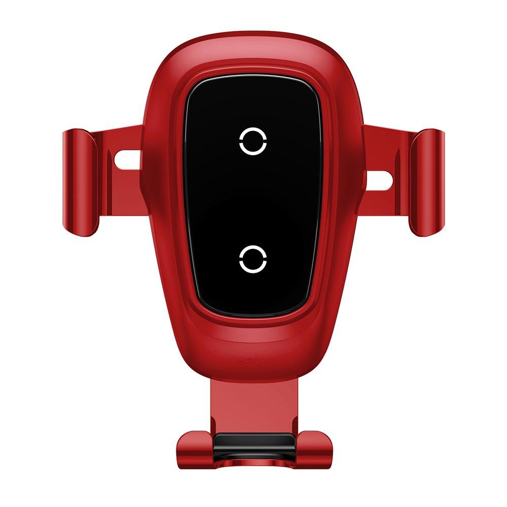 Baseus Metal Gravity držák do větrací mřížky s bezdrátovým nabíjením Qi 10W red