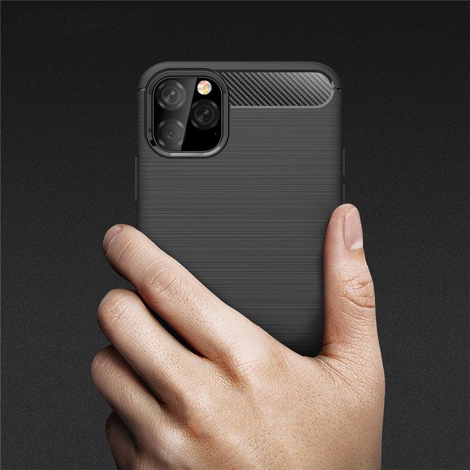 Carbon silikonové pouzdro pro iPhone 11 Pro Max black