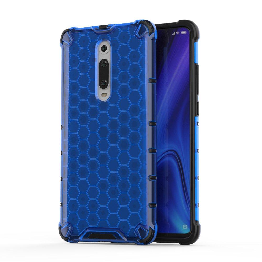Honeycomb panceřové pouzdro se silikonovým rámem pro Xiaomi Mi 9T / Xiaomi Mi 9T Pro blue