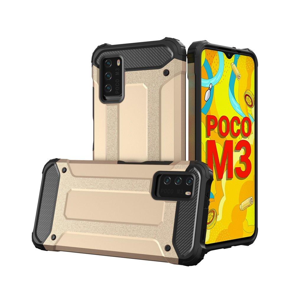 Hybrid pancierové polykarbonátové púzdro pre Xiaomi Poco M3 / Xiaomi Redmi 9T golden