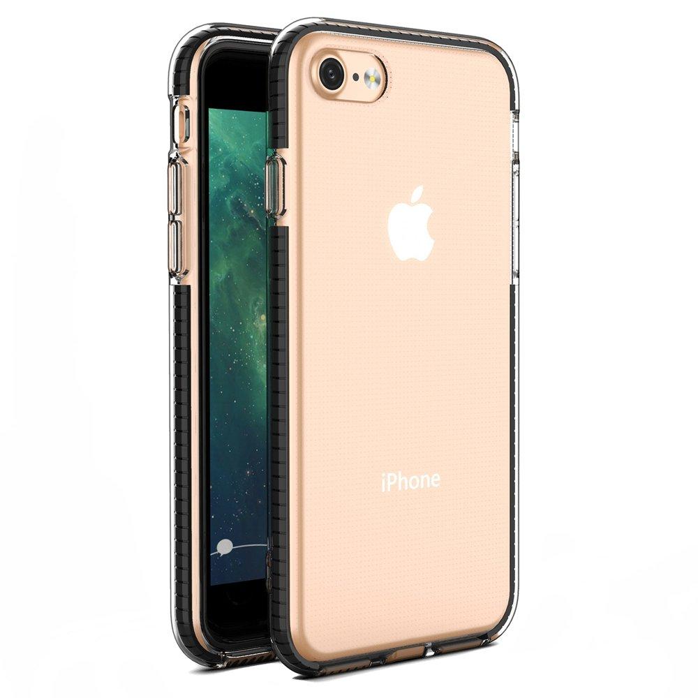 Spring silikónové puzdro s farebným lemom pre iPhone SE 2020 / iPhone 8/7 black