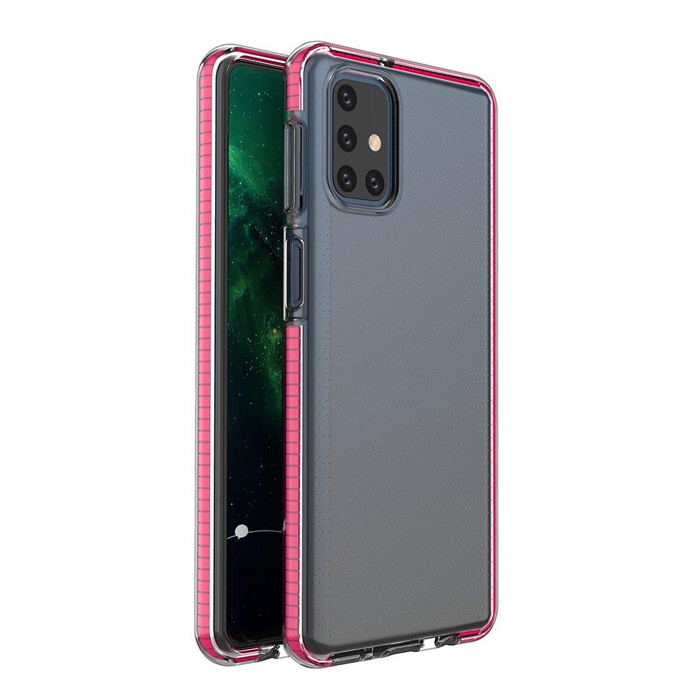 Spring silikónové puzdro s farebným lemom pre Samsung Galaxy M51 pink