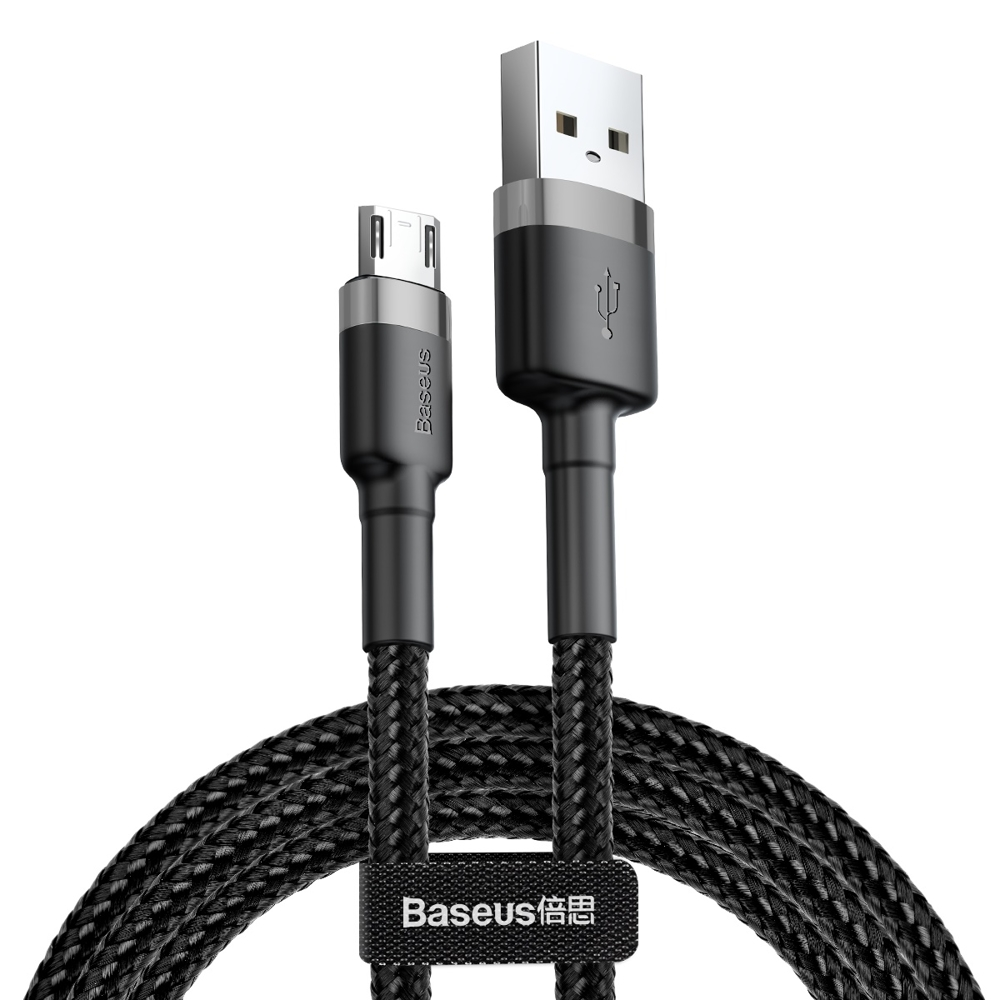 Baseus Cafule extra odolný nylonem opletený kábel USB / Micro USB QC3.0 1,5A 2m black-grey