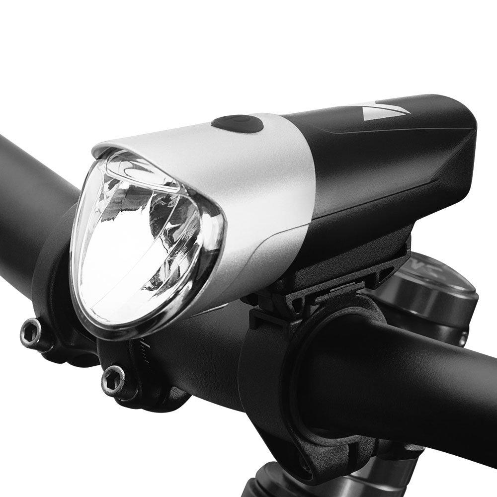 Predné svetlo na bicykel Wozinsky USB nabité čierno-strieborné (WFBLB1)