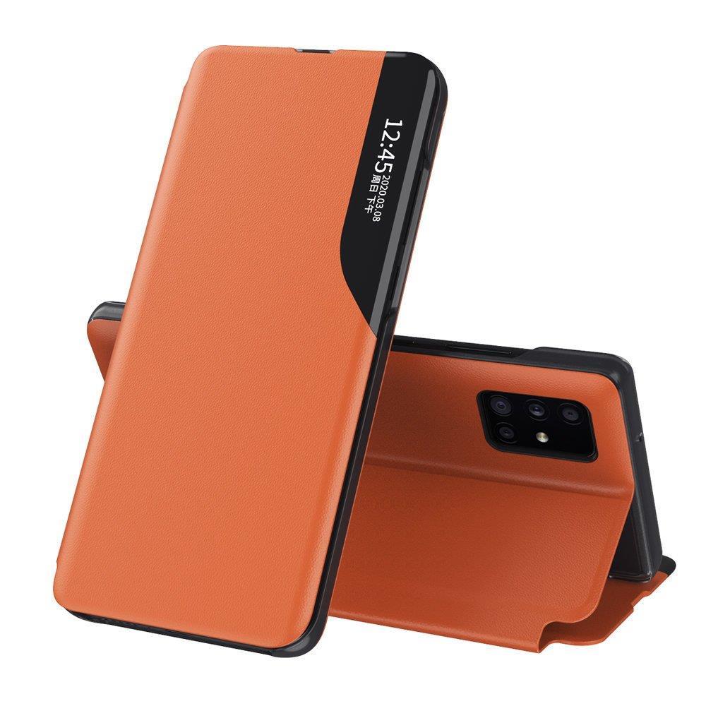 Knížkové pouzdro s imitací kůže na Samsung Galaxy A71 orange