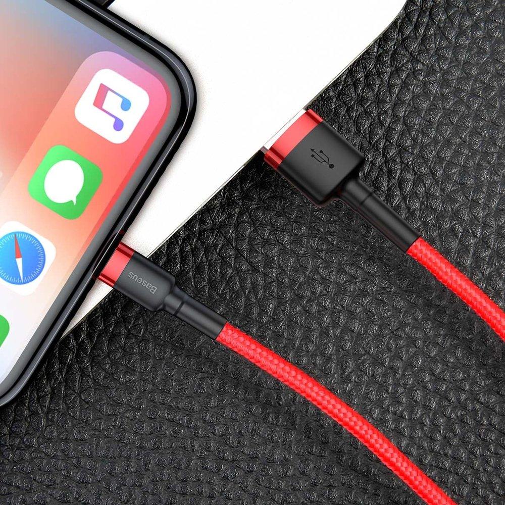 Baseus Cafule extra odolný nylonem opletený kábel USB / Lightning QC3.0 2,4A 0,5m red