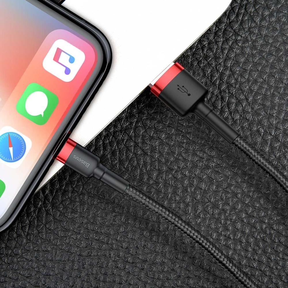 Baseus Cafule extra odolný nylonem opletený kabel USB / Lightning QC3.0 1,5A 2m black-red