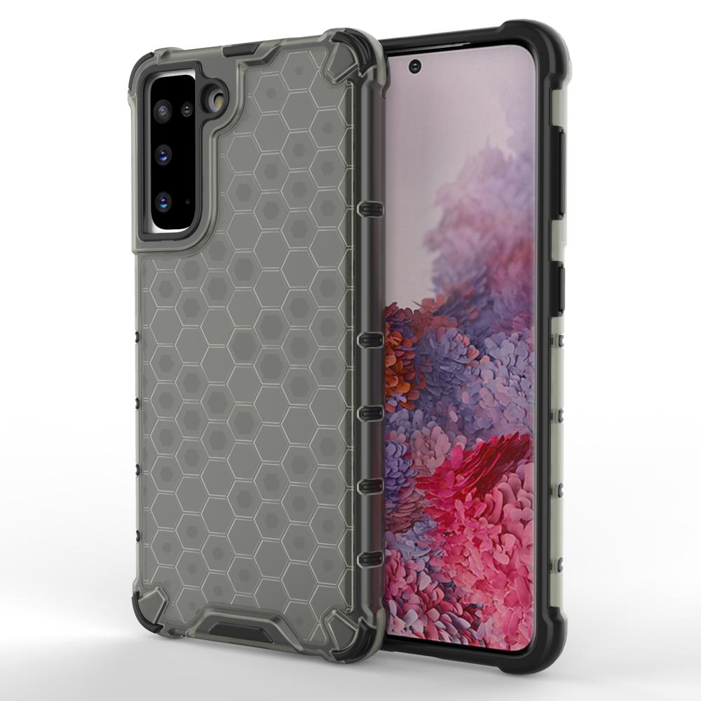 Honeycomb pancierové puzdro so silikónovým rámom pre Samsung Galaxy S21 5G black