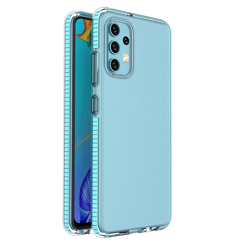 Spring silikonové pouzdro s barevným lemem na Samsung Galaxy A32 4G light blue