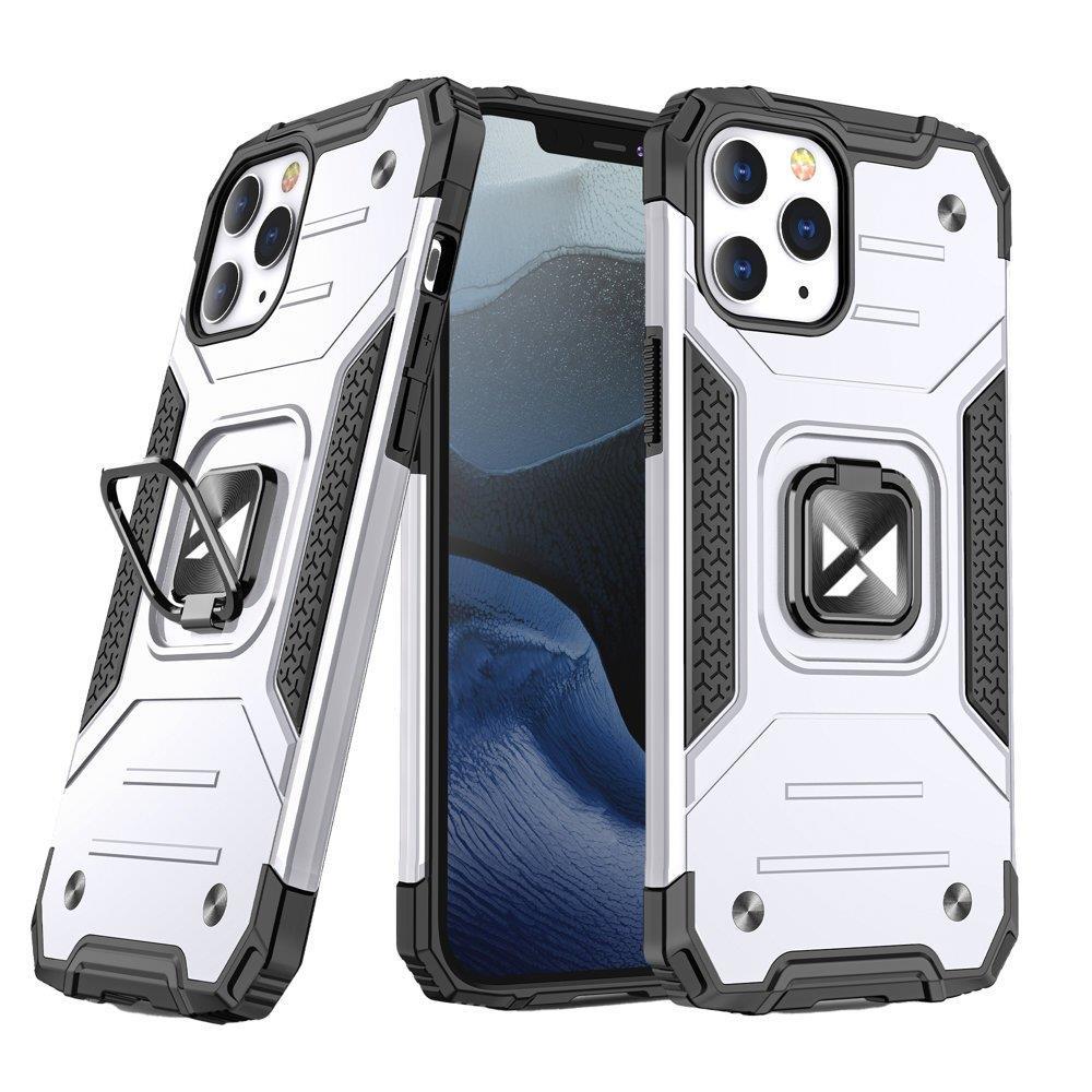 """Wozinsky Hybrid pancéřové pouzdro s kroužkem naiPhone 13 Pro 6.1"""" silver"""