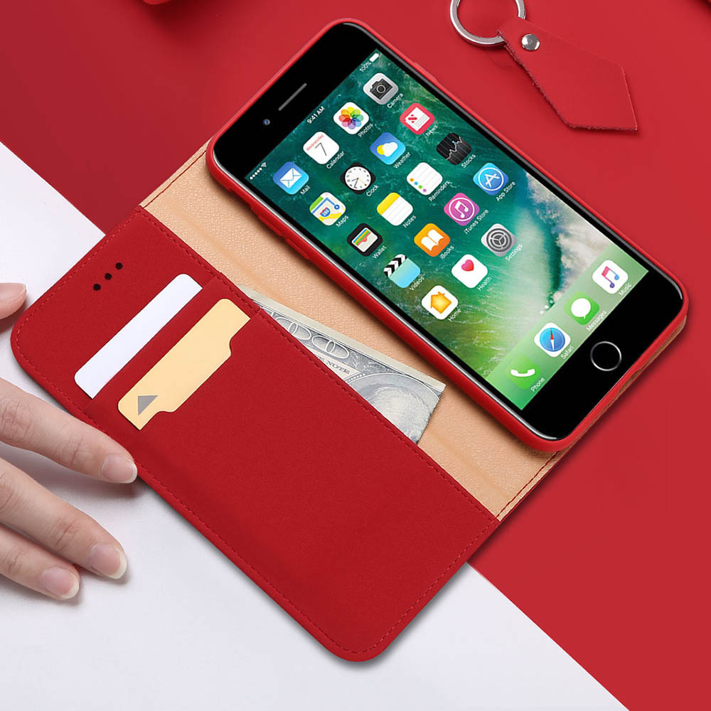 DUX DUCIS Wish kožené pouzdro pro iPhone SE 2020 / 8 / 7 red