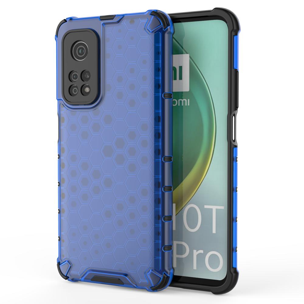 Honeycomb pancéřové pouzdro se silikonovým rámem pro Xiaomi Mi 10T / Mi 10T PRO blue