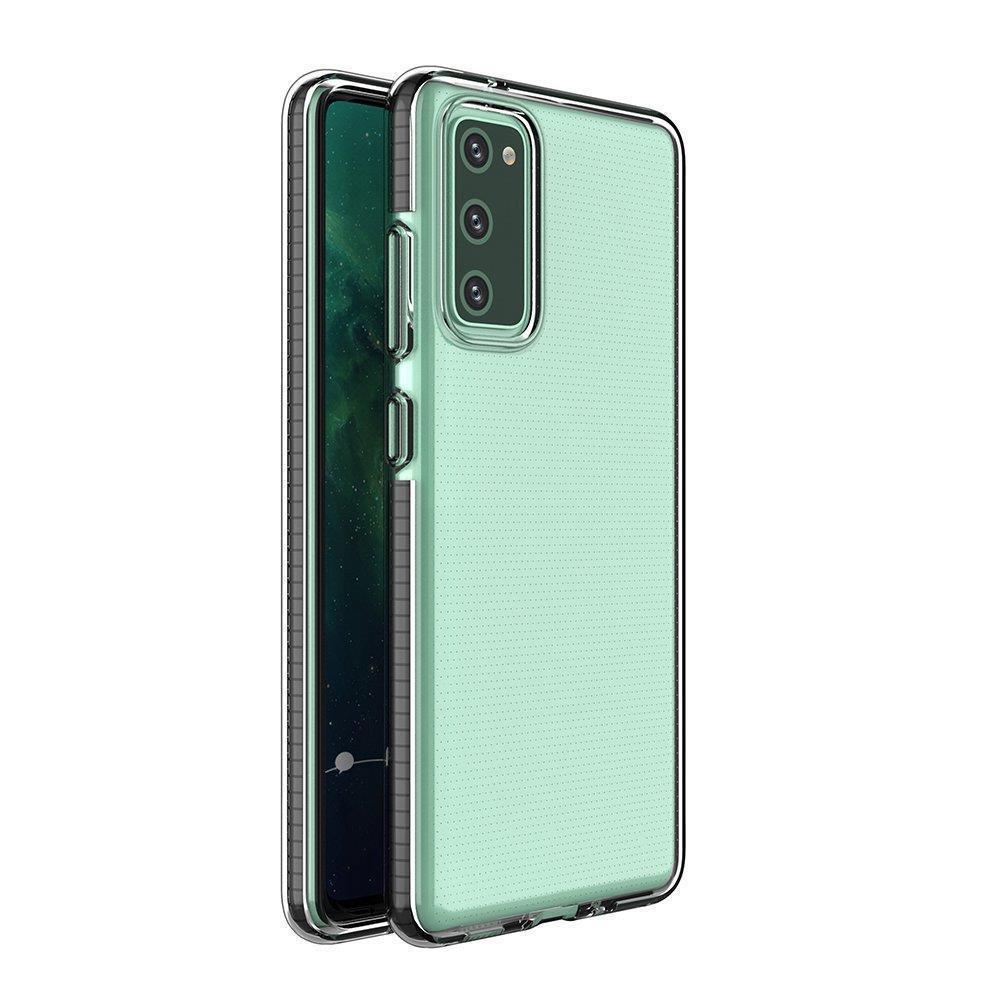 Spring silikónové puzdro s farebným lemom pre Samsung Galaxy A12/M12 black
