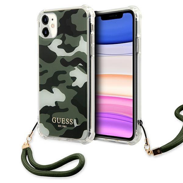 Guess puzdro GUHCN61KSARKA iPhone 11  6,1 zelená / khaki tvrdá