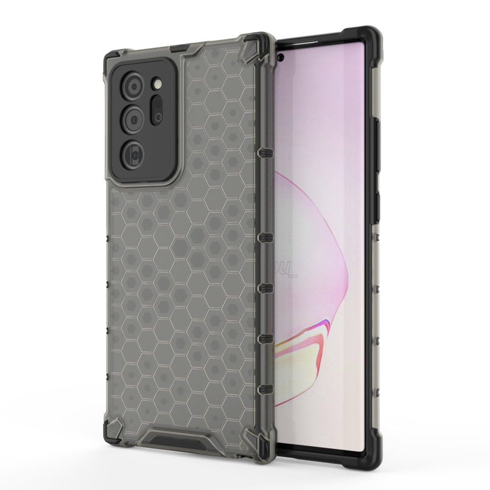 Honeycomb pancierové puzdro so silikónovým rámom preSamsung Galaxy Note 20 Ultra black