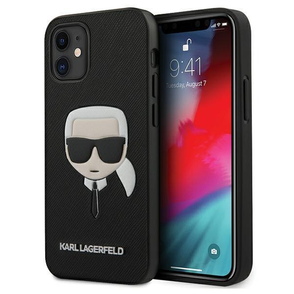 "Karl Lagerfeld KLHCP12MSAKHBK hard silikónové púzdro iPhone 12 / 12 Pro 6,1"" black Saffiano Ikonik Karl`s head"