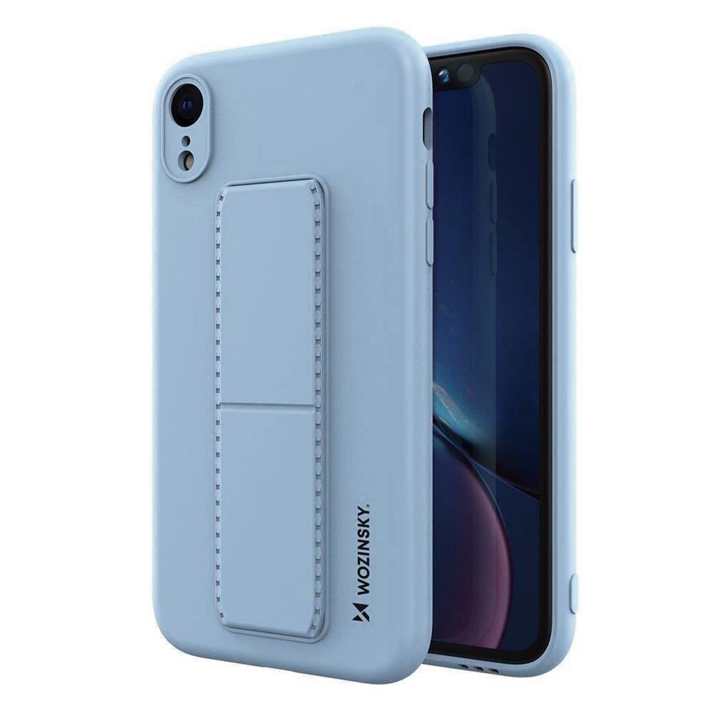 Wozinsky Flexibilné silikónové puzdro so stojanom na iPhone XR light blue