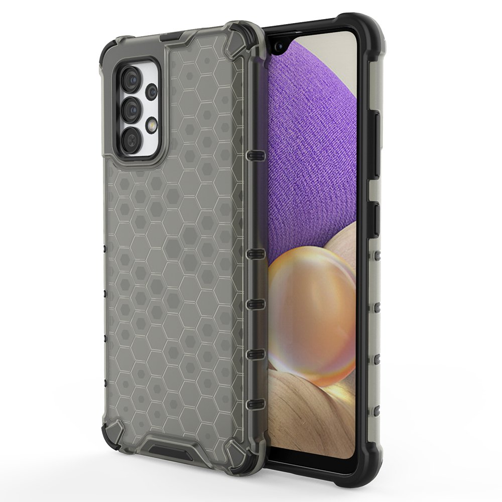 Honeycomb pancéřové pouzdro se silikonovým rámem pro Samsung Galaxy A32 4G black