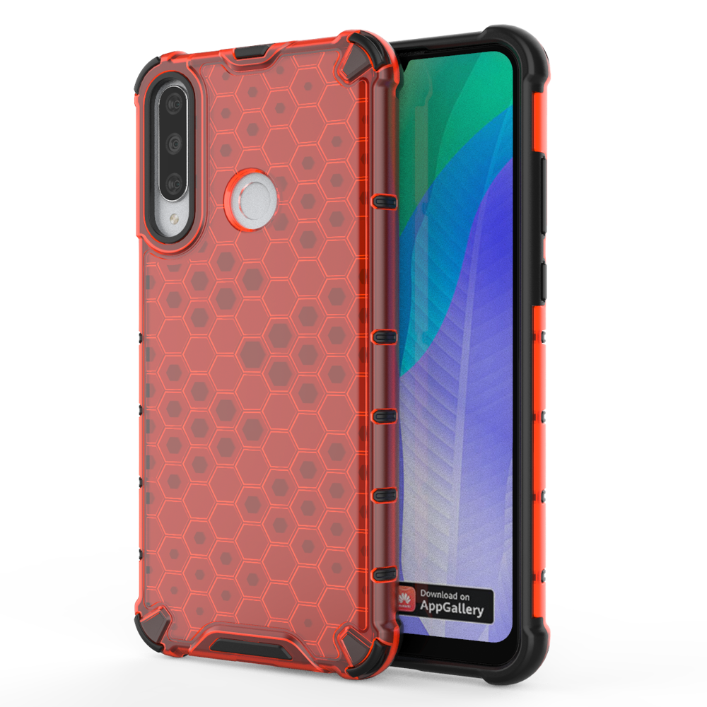 Honeycomb pancéřové pouzdro se silikonovým rámem pro Huawei Y6p red