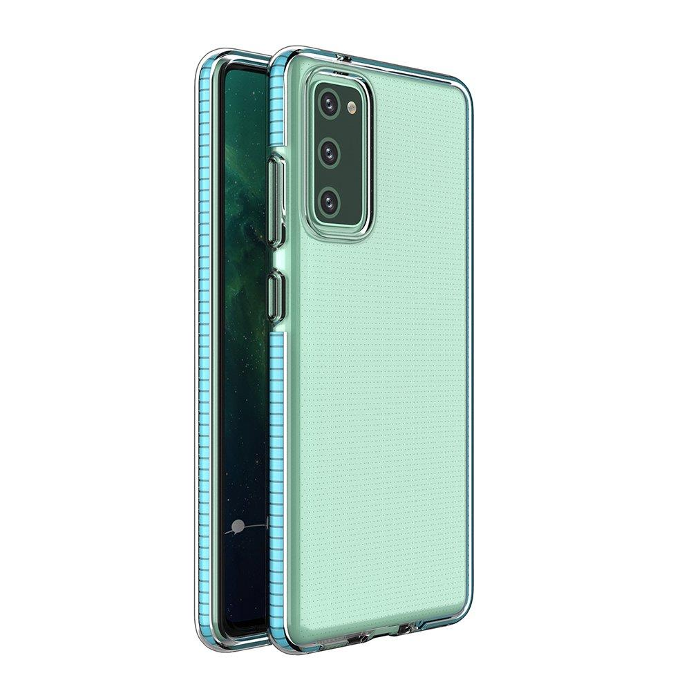 Spring silikónové puzdro s farebným lemom pre Samsung Galaxy S21 5G light blue