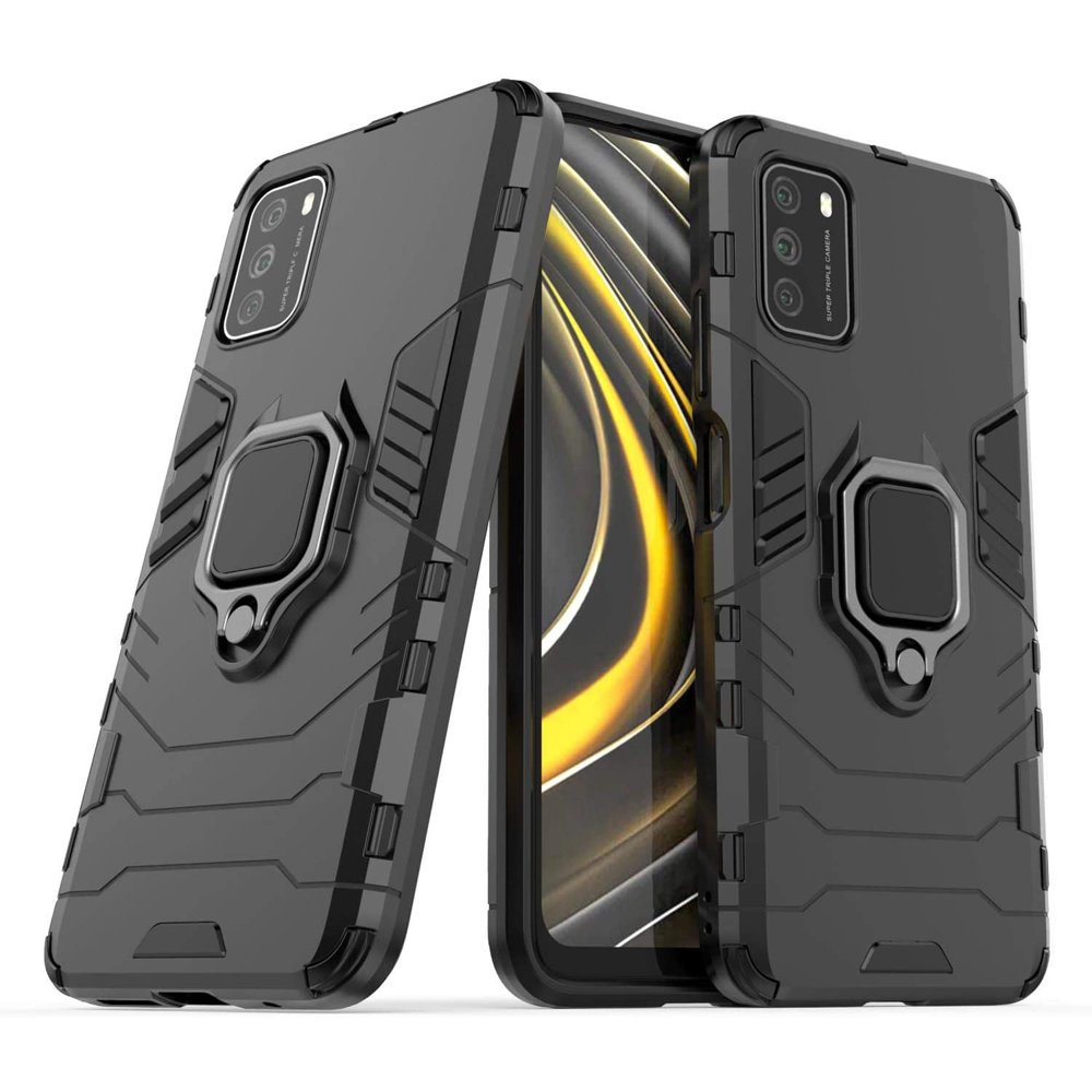Hybrid pancéřové polykarbonátové pouzdro s kroužkem na Xiaomi Poco M3 black