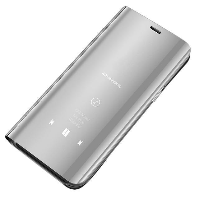 Knižkove púzdro pre Huawei Y6 2019 silver s priehľadnou prednou stranou