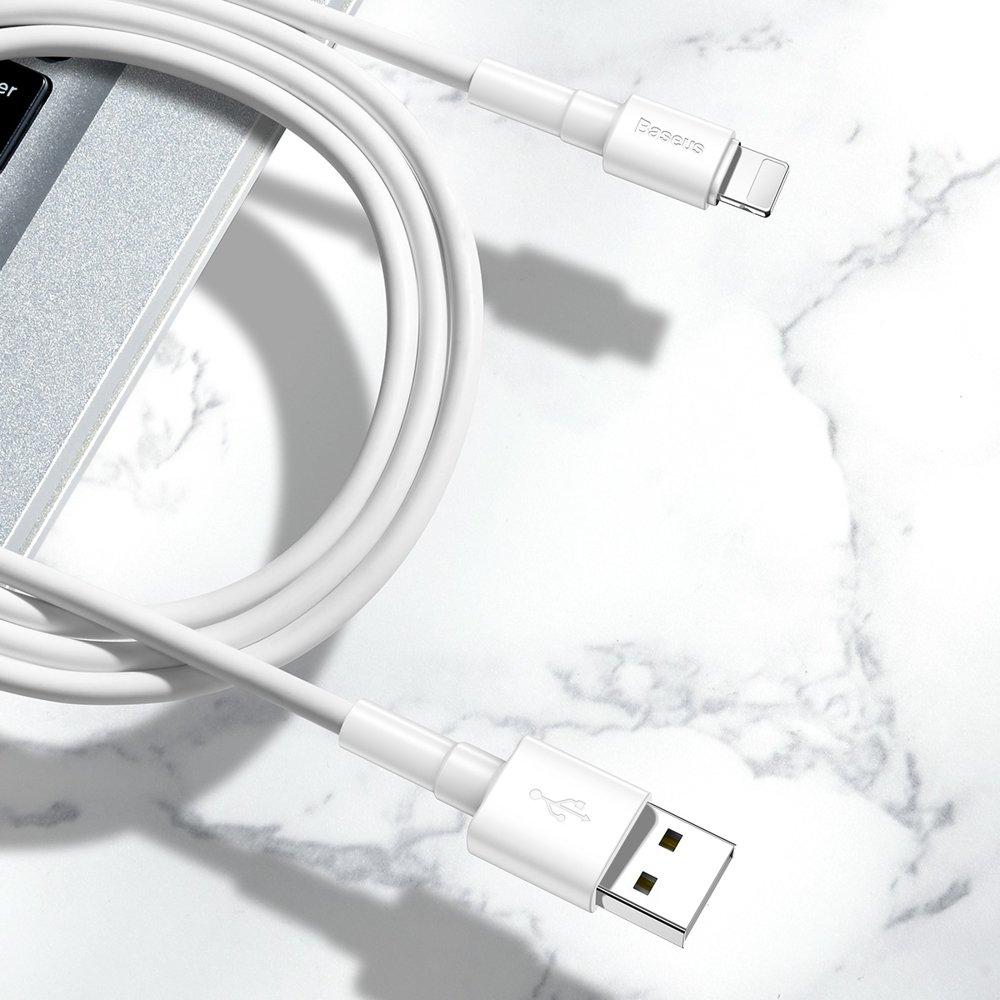 Baseus odolný USB kabel / Lightning 2,4A 1m white