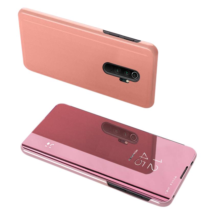 Knižkove púzdro pre Xiaomi Redmi Note 8 Pro pink s priehľadnou prednou stranou