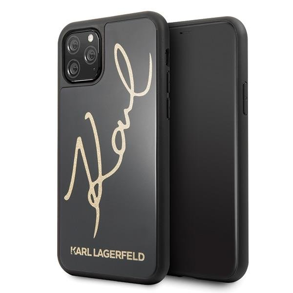 Karl Lagerfeld KLHCN58DLKSBK hard silikonové pouzdro iPhone 11 Pro black Signature Glitter