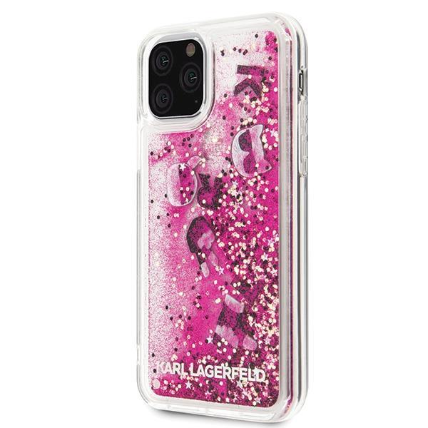 Karl Lagerfeld KLHCN58ROPI hard silikonové pouzdro iPhone 11 Pro rosegold Glitter