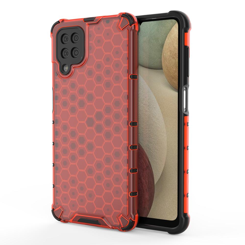 Honeycomb pancierové puzdro so silikónovým rámom pre Samsung Galaxy A12/M12 red