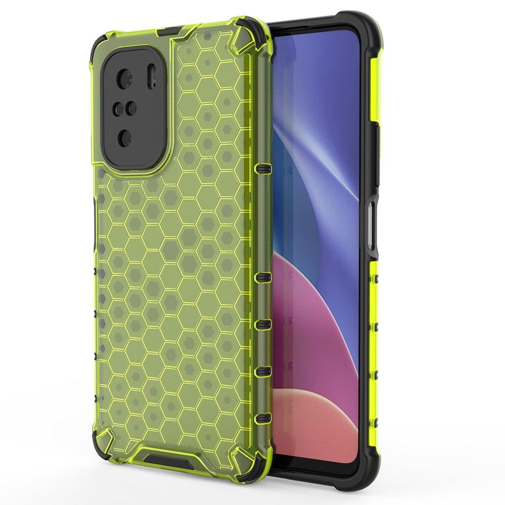 Honeycomb pancierové puzdro so silikónovým rámom pre Xiaomi Poco F3 / Mi 11i green