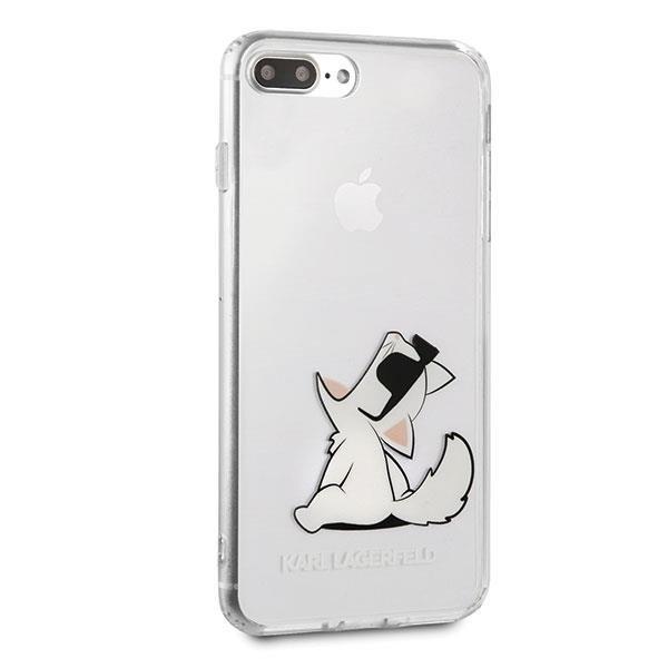 Karl Lagerfeld KLHCI8LCFNRC hard silikonové pouzdro iPhone 8 Plus / iPhone 7 Plus transparent Choupette fun