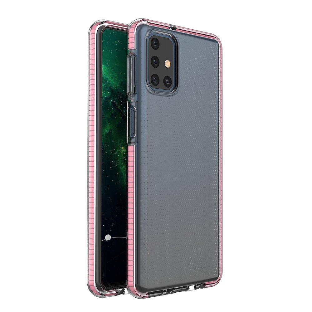 Spring silikónové puzdro s farebným lemom pre Samsung Galaxy M51 light pink