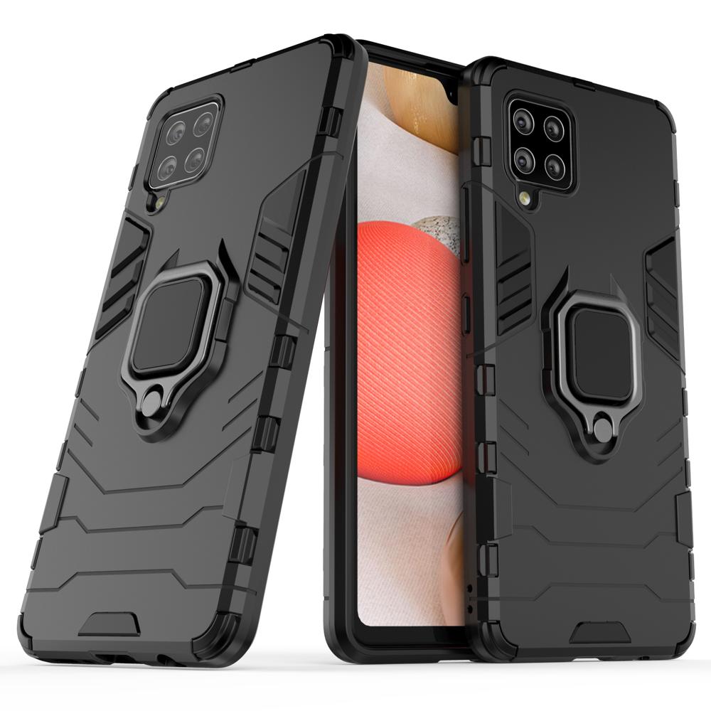Hybrid pancéřové polykarbonátové pouzdro s kroužkem na Samsung Galaxy A42 5G black