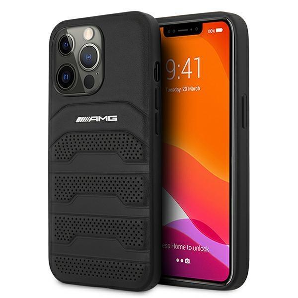 """AMG AMHCP13XGSEBK iPhone 13 Pro Max 6,7 """"čierny/čierny pevný obal Kožené vyrazené čiary"""