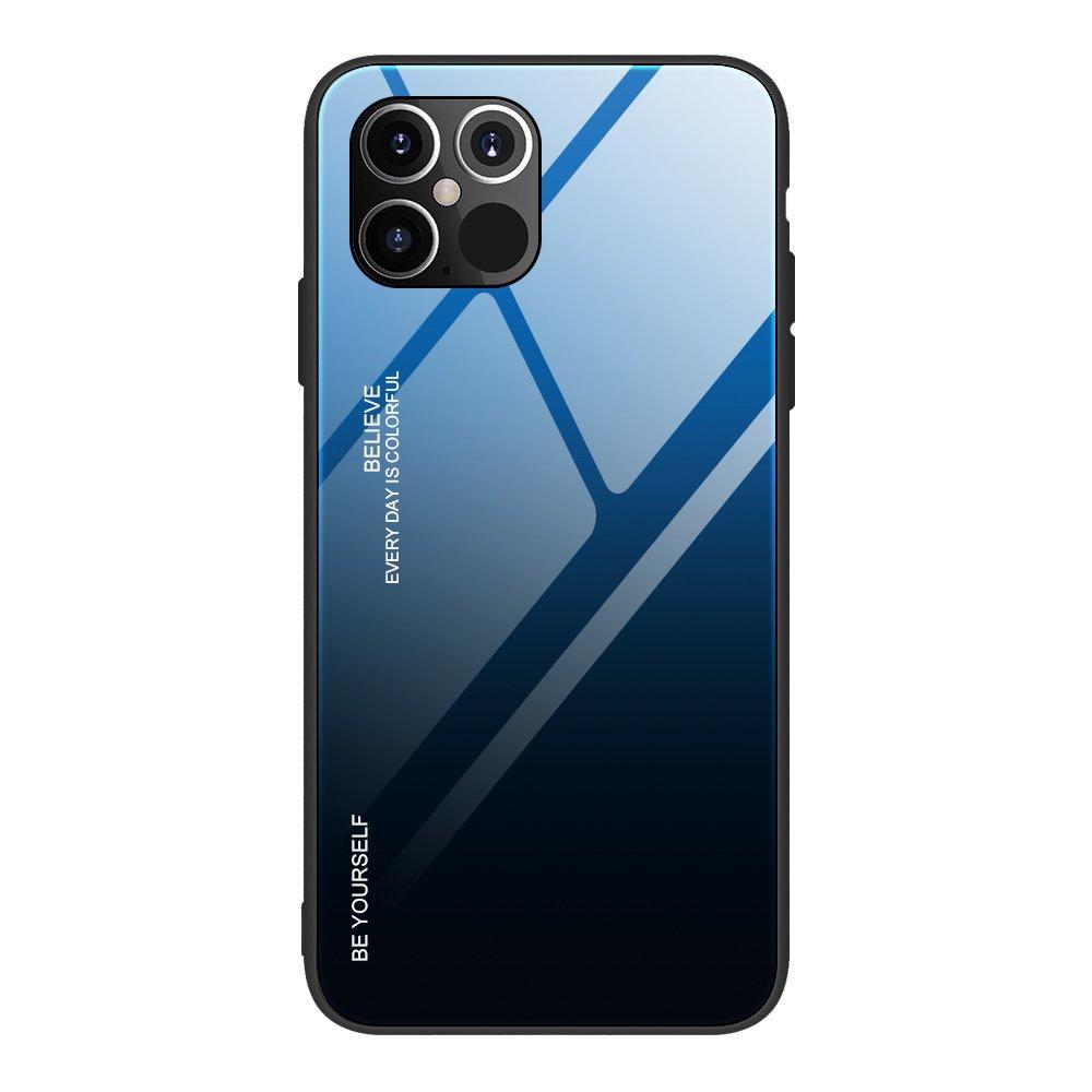 """Gradient Glass púzdro 9H na zadnú časť pre iPhone 12 Pro MAX 6,7"""" black-blue"""