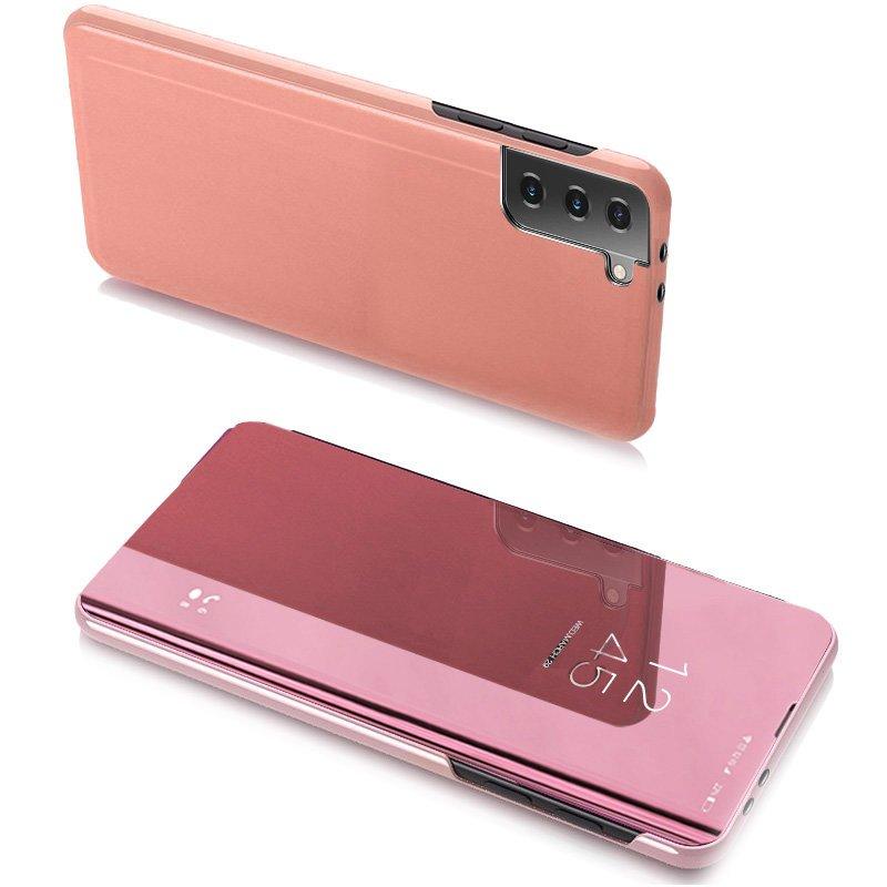 Knižkove púzdro pre Samsung Galaxy S21 5G s priehľadnou prednou stranou pink